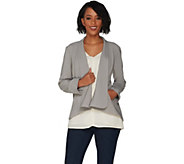 H by Halston Long Sleeve Open Front Jacket with Seam Detail - A303200