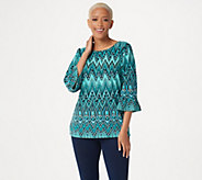 Bob Mackies Peacock Feather Printed Knit Top with Ruffle Sleeves - A303300