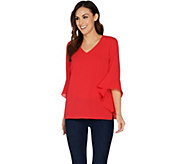 Belle by Kim Gravel V-Neck Bell Sleeve Stretch Crepe Top - A303500