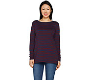 As Is Martha Stewart Classics Striped Boat Neck L/S Tunic - A306600