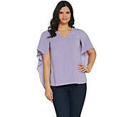 H by Halston Cape Sleeve Woven V-Neck Top - A306900