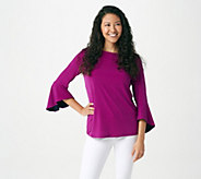 Susan Graver Liquid Knit Bell Sleeve Top with Pop Lining - A307900