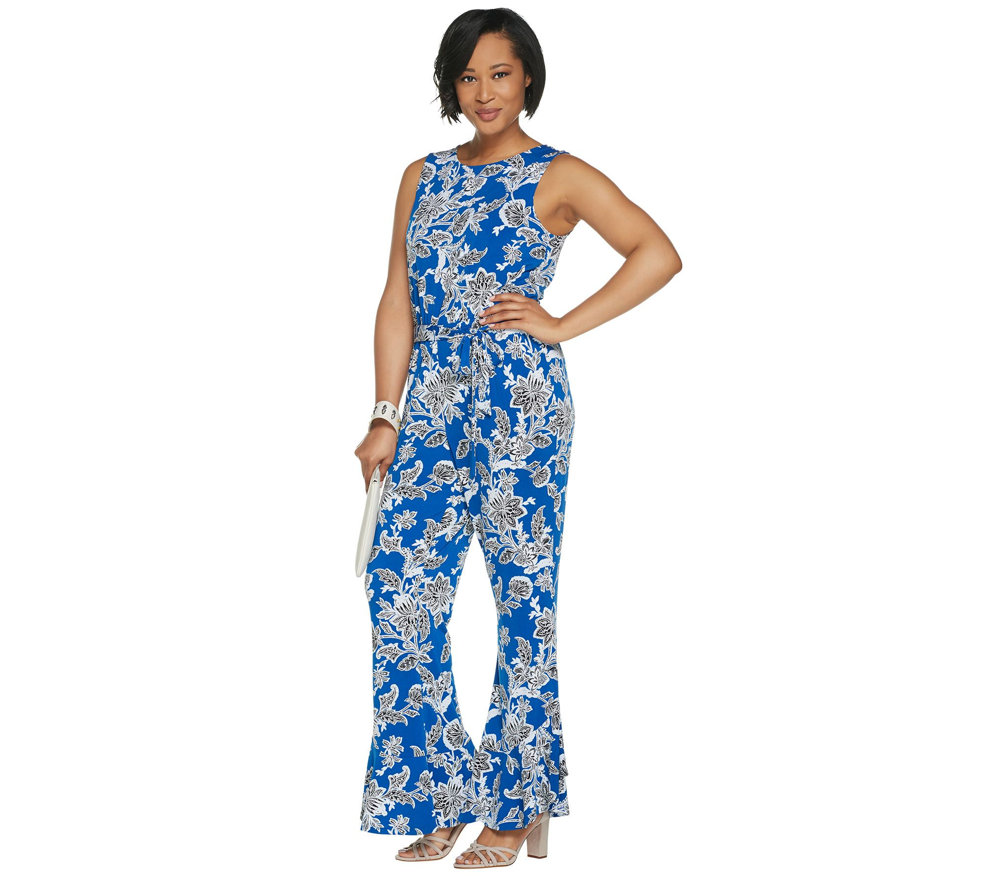 37bcdef9de0c Vince Camuto Sleeveless Ruffle Cuff Woodblock Floral Jumpsuit - Page 1 — QVC .com