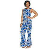 Vince Camuto Sleeveless Ruffle Cuff Woodblock Floral Jumpsuit - A308800