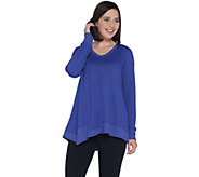LOGO Lounge by Lori Goldstein French Terry Top with Seaming Details - A309800