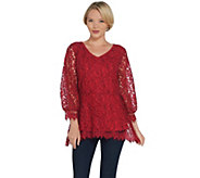Isaac Mizrahi Live! Bi-Color Lace Peplum Top w/ Blouson Sleeves - A310000