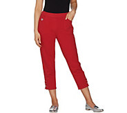 As Is Quacker Factory DreamJeannes Grommet Lace Up Crop Pants - A342700