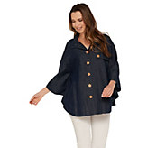 As Is Joan Rivers Button Front Denim Cape - A343400