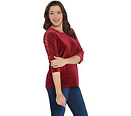 Quacker Factory Rhinestone Lattice Sleeve Knit Velvet Top - A343900