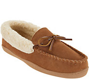 Clarks Suede Womens Slipper with Faux Shearling - A345000
