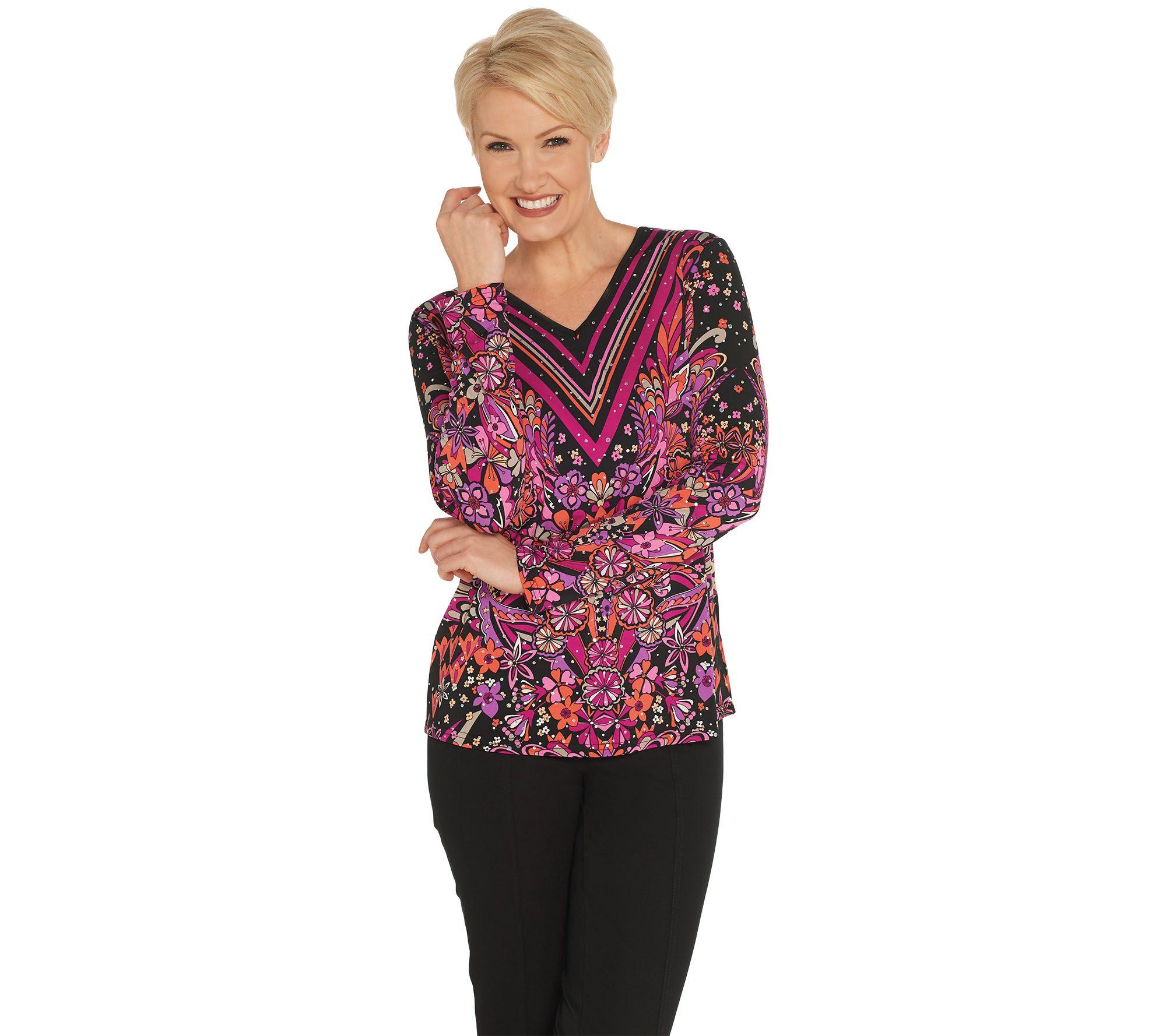 e6a717679dd Bob Mackie Floral Print Pullover Knit Top - Page 1 — QVC.com