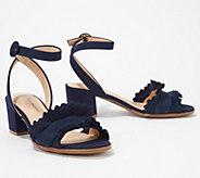 Isaac Mizrahi Live! Suede Block Heel Sandals with Ruffle - A349200