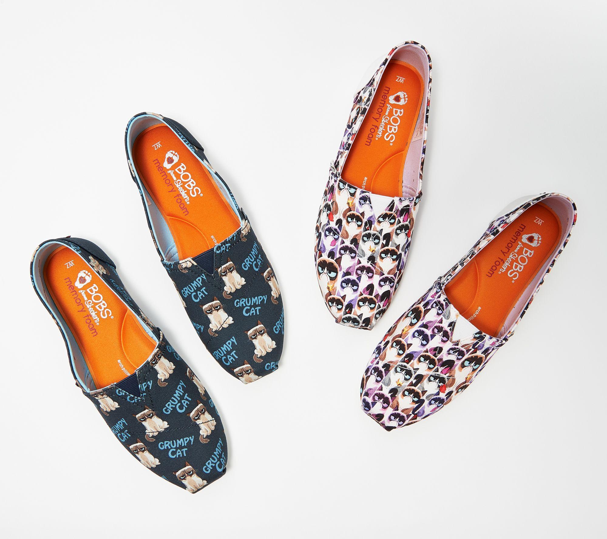 5d2a418d74211 Skechers BOBs Choice of Slip-On Shoes - Grumpy Cat — QVC.com