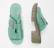 FLY London Leather Mules with Buckle Detail - Cozy - A351200