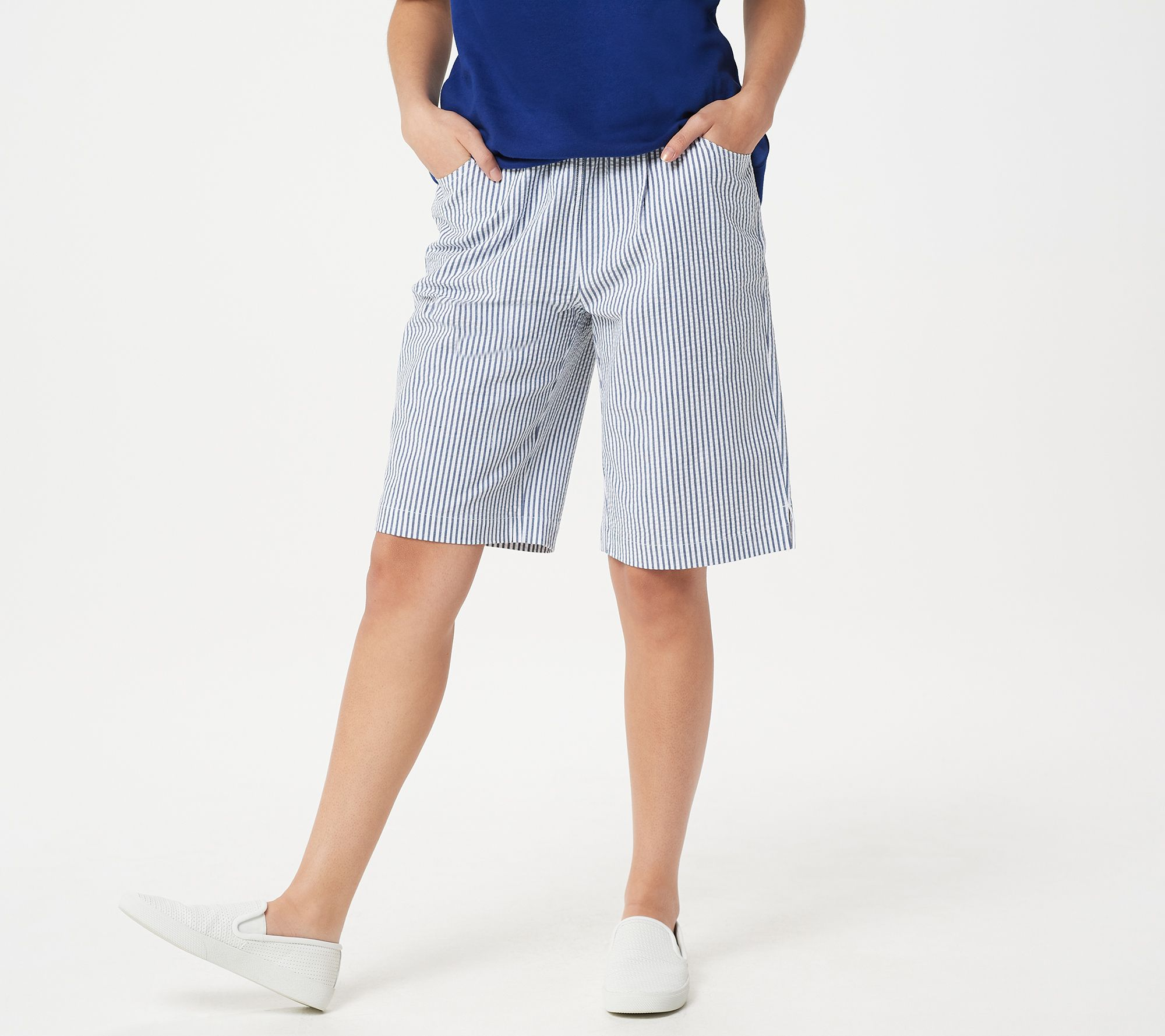 buy best dirt cheap top-rated newest Quacker Factory Stretch Seersucker Shorts with Pockets — QVC.com