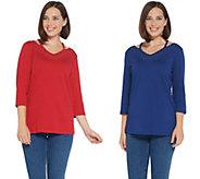 As Is Quacker Factory Set/2 Cutout V-Neck Knit T-shirts w/Rhinestones - A353100