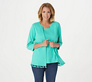 As Is Quacker Factory 3/4- Sleeve Knit Duet with Rhinestones - A374300