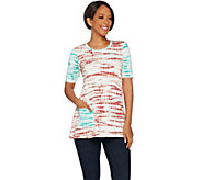 LOGO Lounge by Lori Goldstein Printed French Terry Top with Contrast Sleeve - A275801