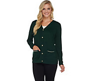 Susan Graver Button Front Sweater Cardigan with Printed Back - A279801