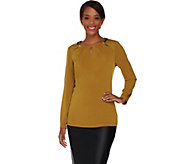 Susan Graver Artisan Liquid Knit Embellished Top w/ Cutouts - A282101
