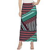 Susan Graver Printed Liquid Knit Maxi Skirt w/ Slit - Regular - A287701