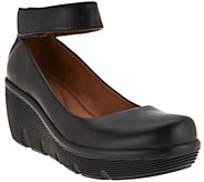 As Is Clarks Artisan Leather Ankle Wrap Wedge Pumps - Clarene Tide - A290101