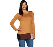 LOGO by Lori Goldstein Solid Knit Top w/ Contrast Pleating - A292801