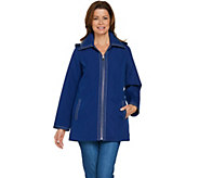 As Is Dennis Basso Water Resistant Jacket with Striped Lining - A297501