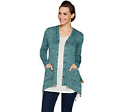 LOGO by Lori Goldstein Space Dye Button Front Cardigan - A299601