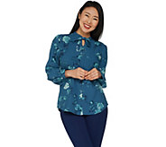 Denim & Co. Floral Print Tie Neck Long Sleeve Blouse - A300801