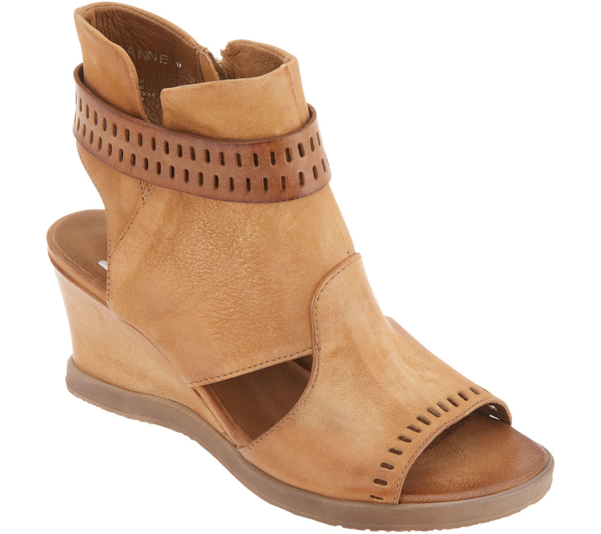 857f54d5435d Miz Mooz Leather Cutout Wedge Sandals - Brianne - Page 1 — QVC.com