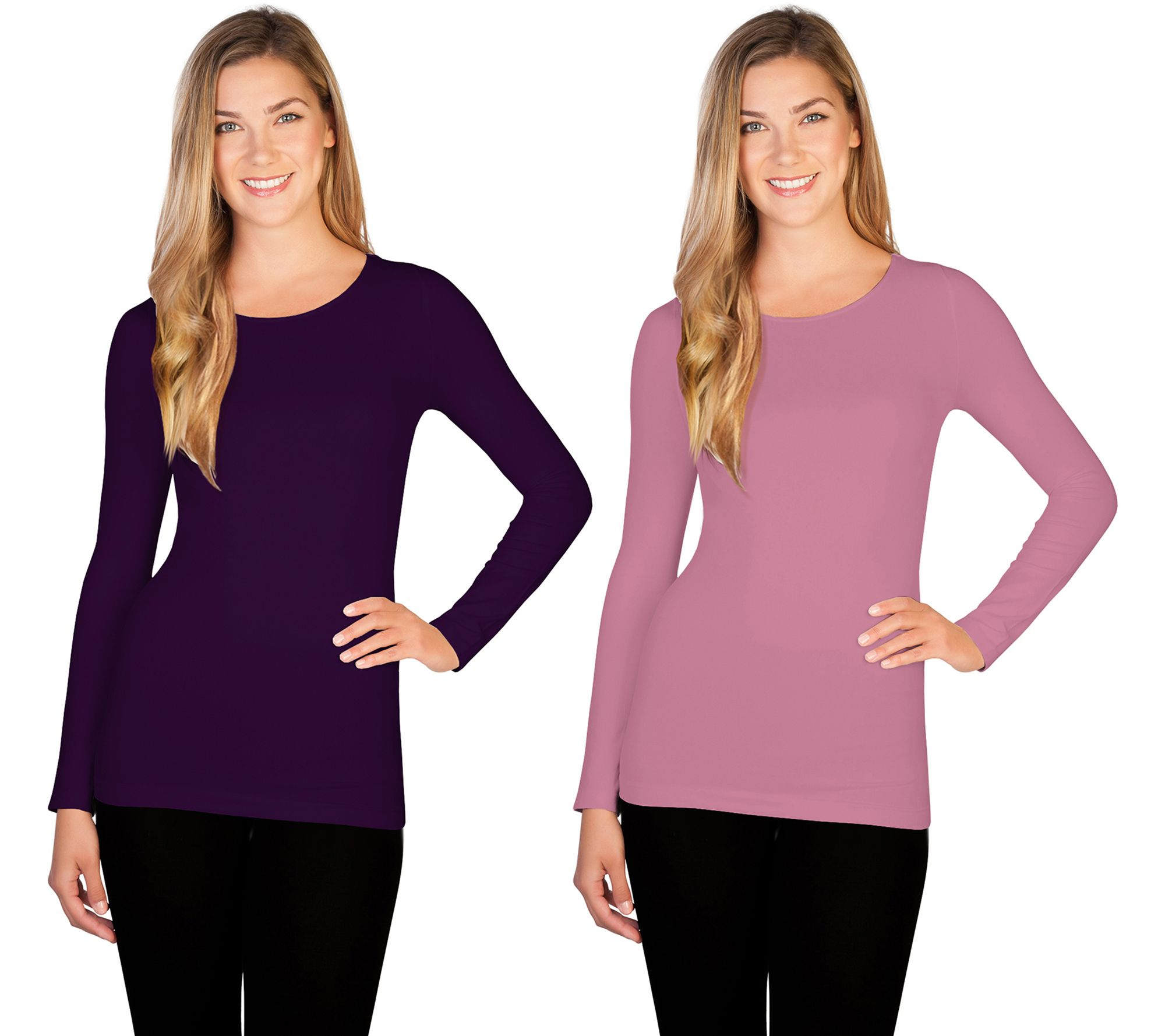 1c817ea11bba0 skinnytees Missy Long Sleeve Crew Neck Top Set of 2 - Page 1 — QVC.com