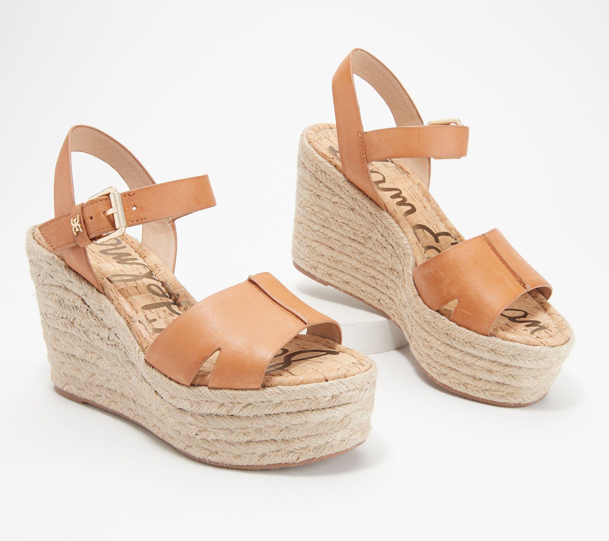 54ce5e6ca8c Sam Edelman Leather Wedge Sandals - Maura — QVC.com