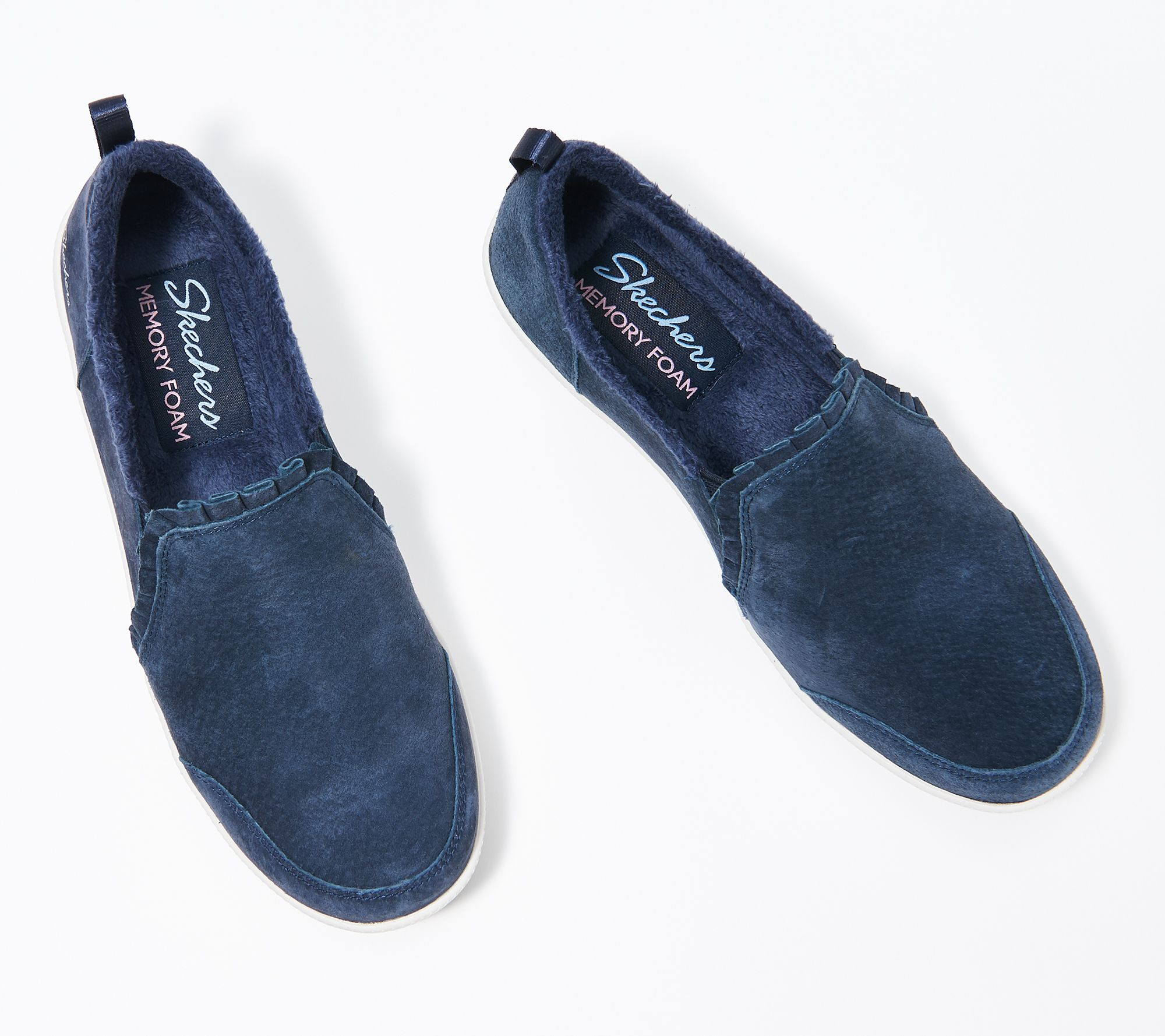 Skechers Suede Ruffle Slip-On Shoes - Madison Ave - Plushed — QVC com