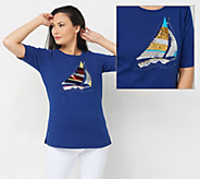 As Is Quacker Factory Springtime Sequins Elbow Sleeve Tee - A384001