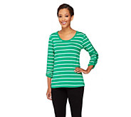 Susan Graver Weekend Stretch Cotton Top with Snap Detail - A230502