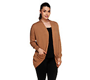 Lisa Rinna Collection Draped Pocket Open Front Cardigan - A255902