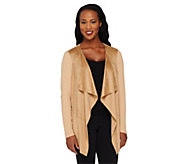 Lisa Rinna Collection Faux Suede Drape Front Knit Cardigan - A262902
