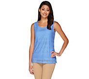 Susan Graver Jacquard Lace U-Neck Sleeveless Top - A263802