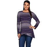 LOGO by Lori Goldstein Long Sleeve Scoop Neck Stripe Knit Top - A265602