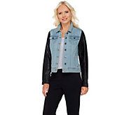 Lisa Rinna Collection Denim Jacket with Faux Leather Sleeves - A268102