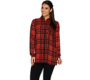 Susan Graver Printed Feather Weave Button Front Shirt - A269302
