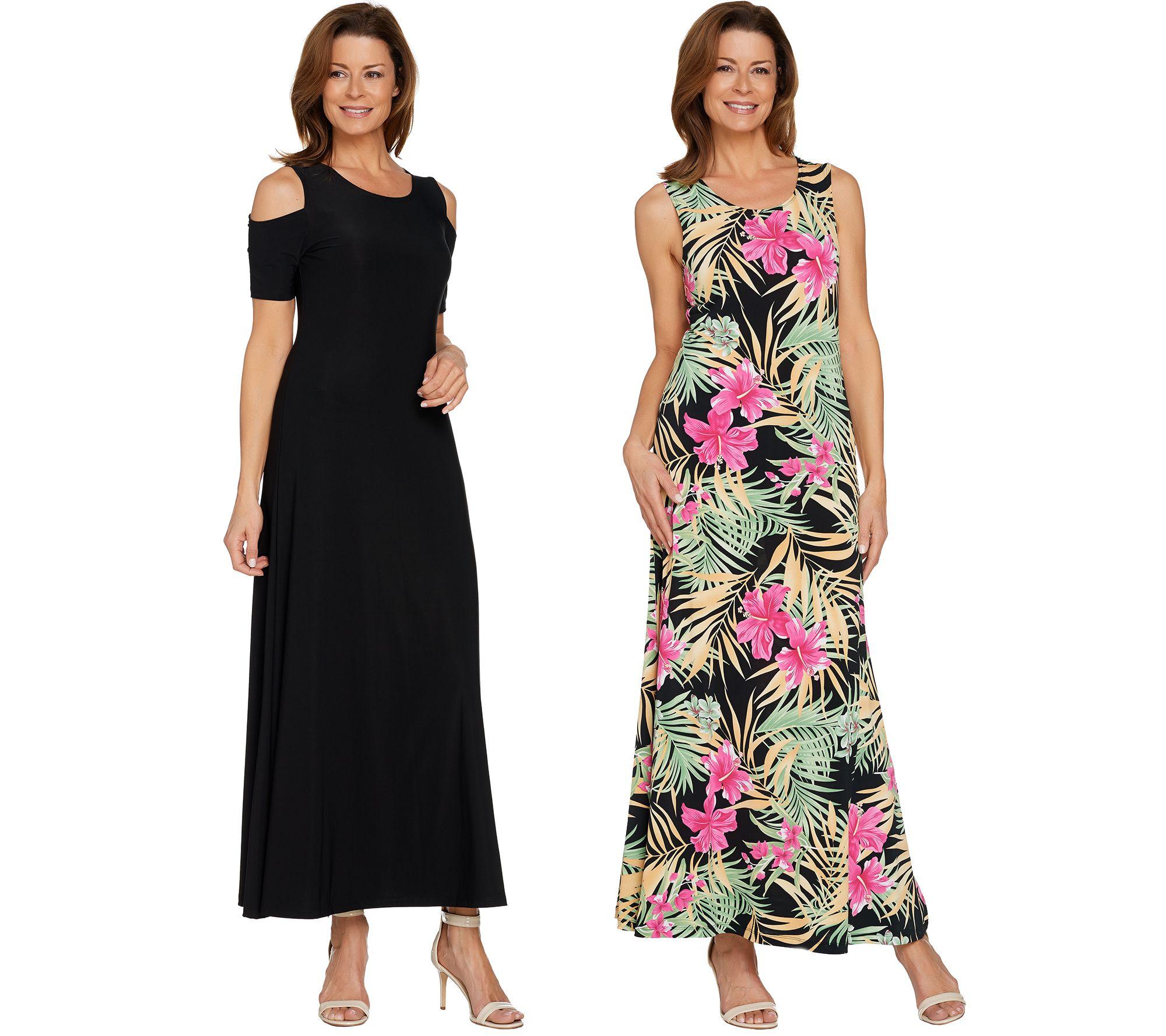 Attitudes by Renee Regular Solid & Printed Set of 2 Dresses — QVC.com