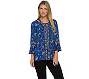 Susan Graver Printed Liquid Knit Top with Removable Tie - A292302