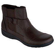 As Is Clarks Tumbled Leather Ankle Boots- Cheyn Work - A307902