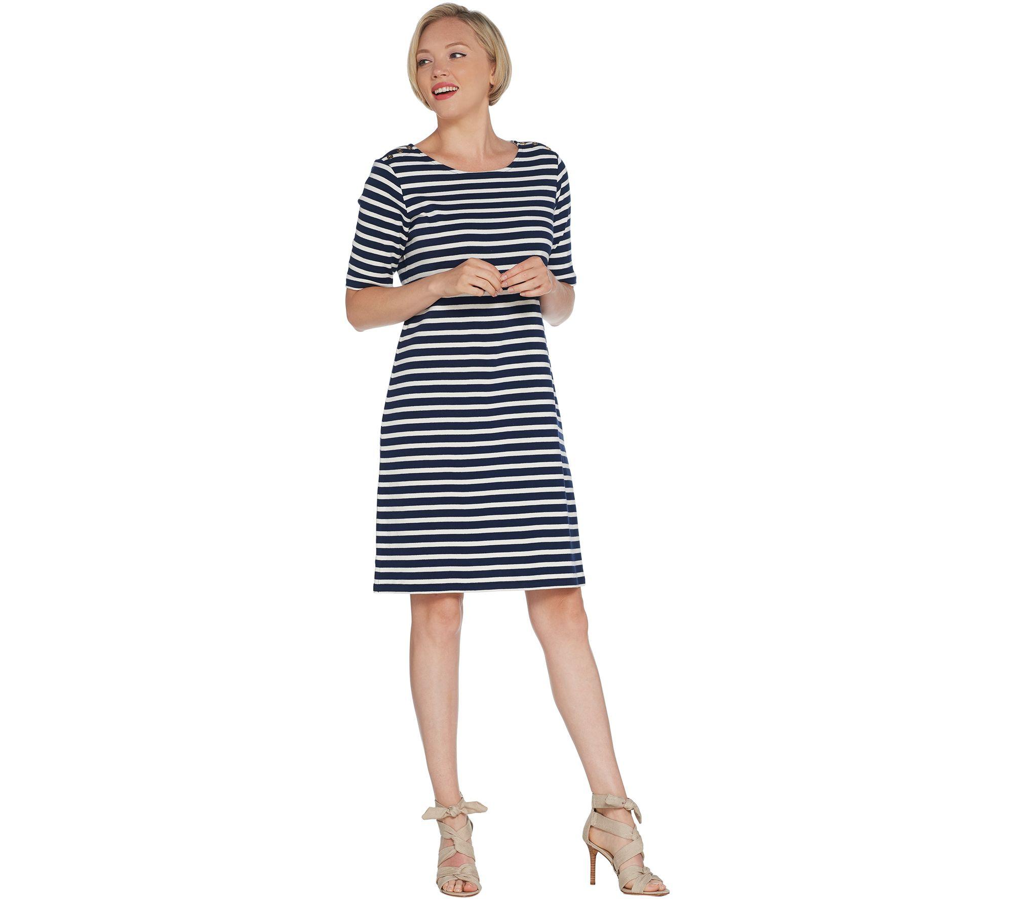 Martha Stewart Striped Scoop-Neck Elbow-Sleeve T-Shirt Dress — QVC.com