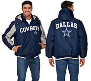 As Is NFL Dallas Polyfill Jacket with Detachable Hood - A343202