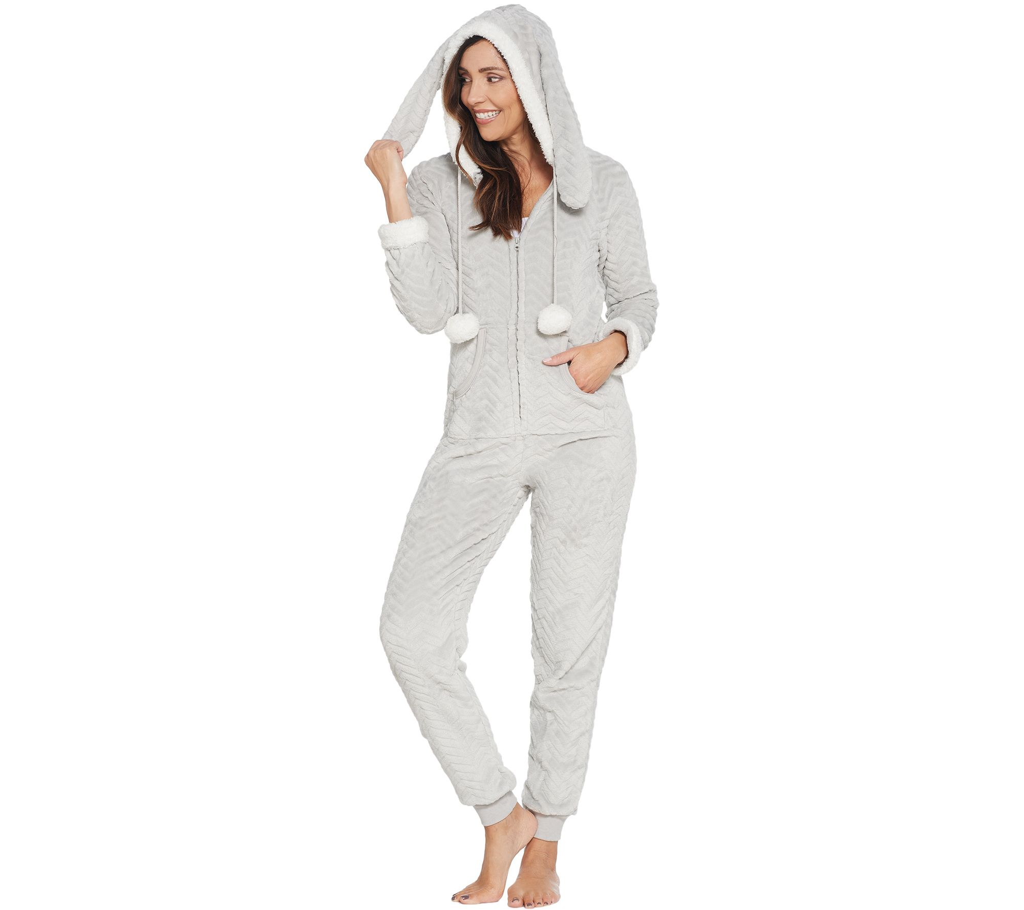 b2a736ff41 French Jenny Cuddle Critters Hooded Onesie w  Pockets - Page 1 — QVC.com