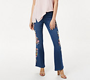 Laurie Felt Tall Silky Denim Embroidered Boot-Cut Jeans - A353002