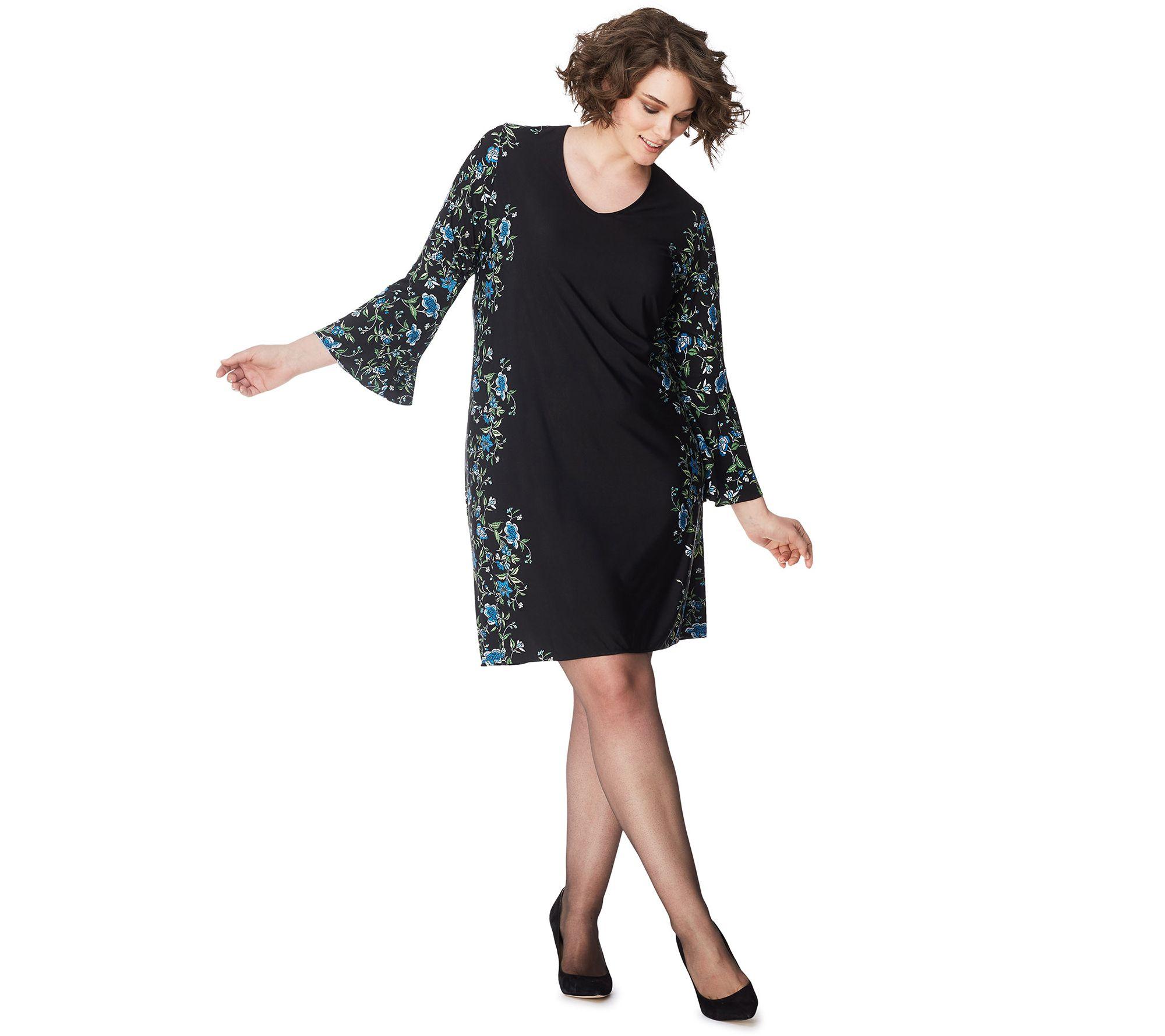 Just My Size Women\'s Plus Bell-Sleeve Border Print Dress — QVC.com